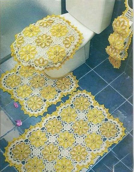 Sarı Dantel Banyo Takımı Örneği