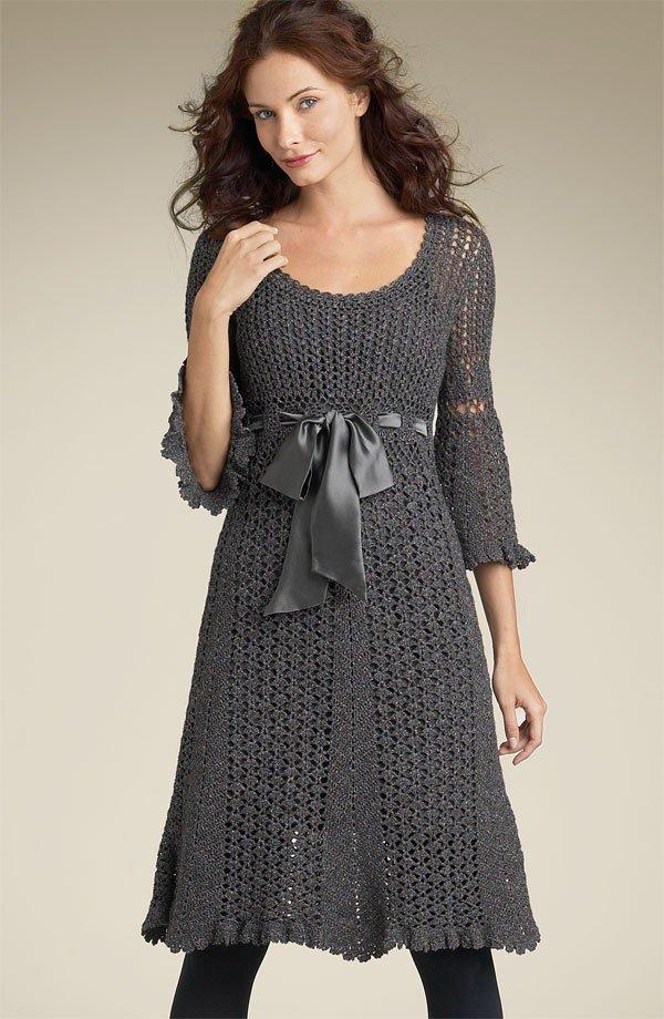 Gri Örgü Elbise Modeli