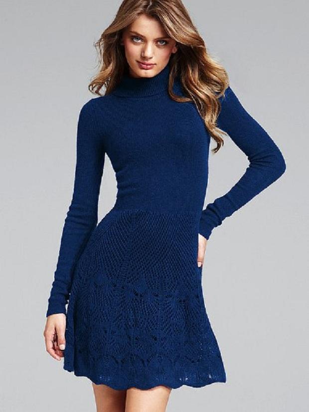 Mavi Örgü Elbise Modelleri
