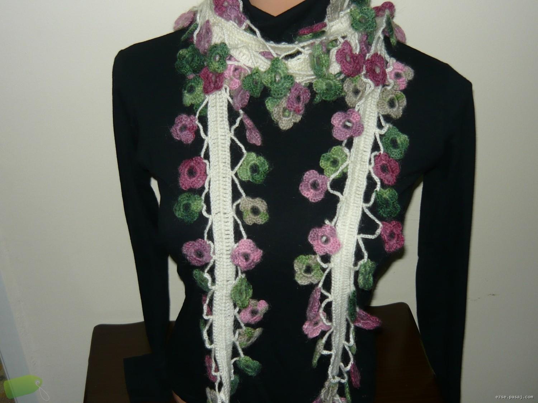 Çiçek Motifli Elişi Fular Modelleri