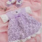 Eflatun Elişi Örgü Bebek Elbisesi Modelleri