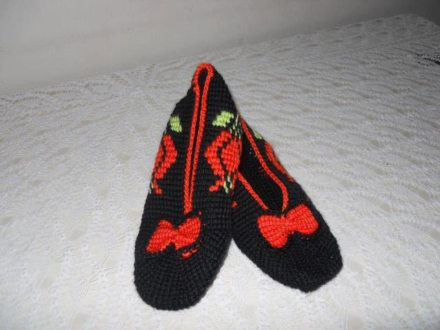 Kırmızı Siyah Elişi Babet Patik Modelleri