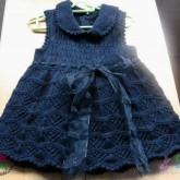 Lacivert Elişi Örgü Bebek Elbisesi Modelleri