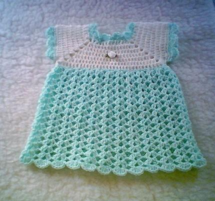 Mavi Elişi Örgü Bebek Elbisesi Modelleri
