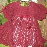 Pembe Elişi Örgü Bebek Elbisesi Modelleri