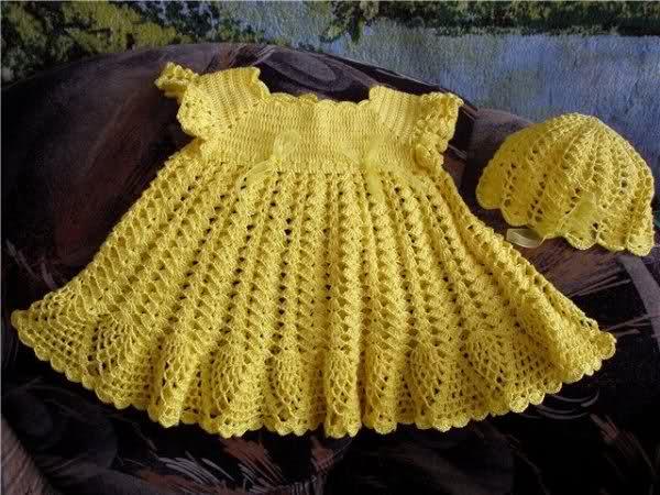 Sarı Elişi Örgü Bebek Elbisesi Modelleri